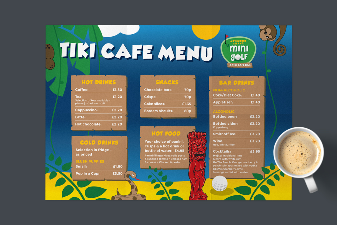 Adventure Island Mini Golf menu design