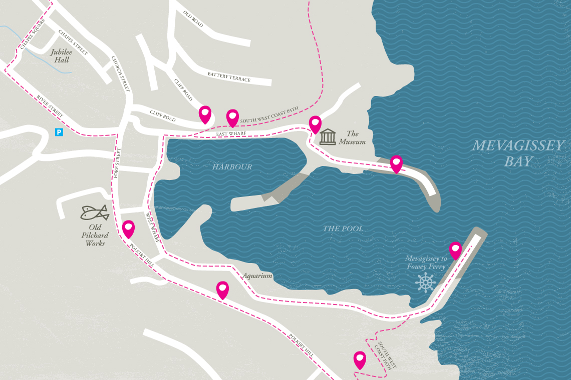 Walk With Me app Mevagissey map design