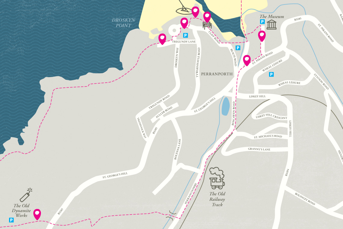 Walk With Me app Perranporth map design