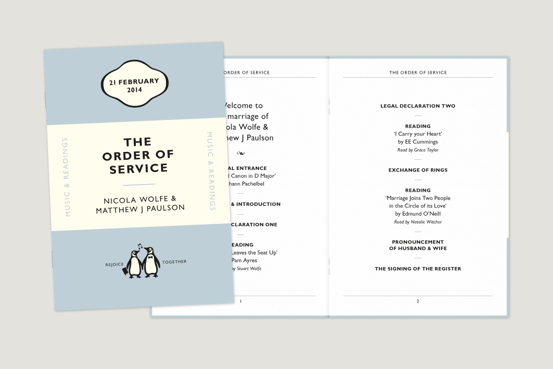 Wedding order of service design
